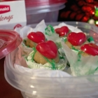 Grinch Cookie Dough Bites in Crinkle Cookie Cups - Free Printable Gift Tags