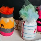 Pencil, Paper, and Crayon Painted Jar Craft