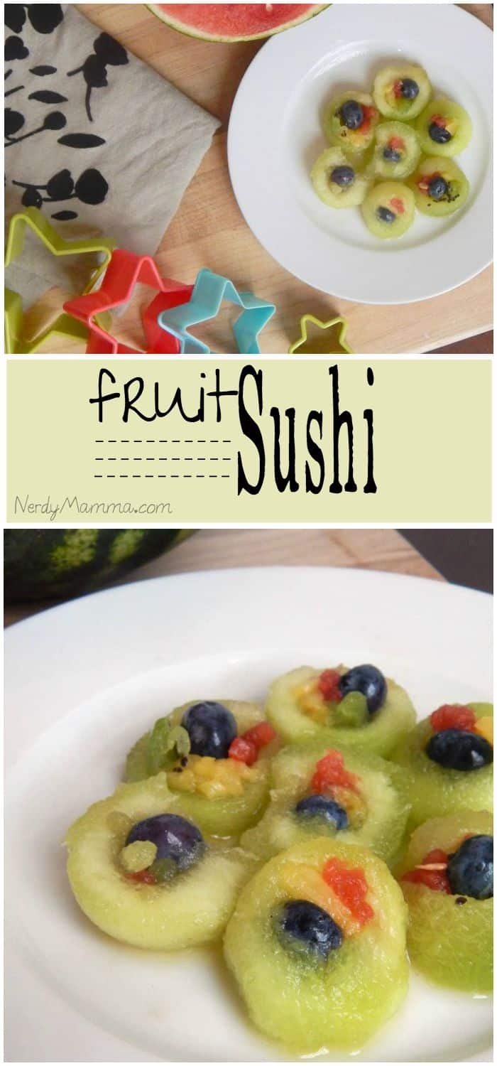 My kids LOVE to gobble up these little fruit sushi bites in their lunches!