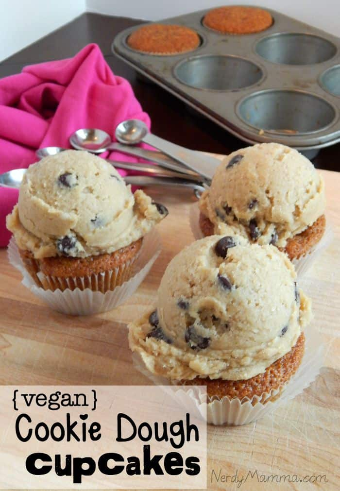 These cookie dough cupcakes are egg-free and dairy-free. Just straight-up awesome!