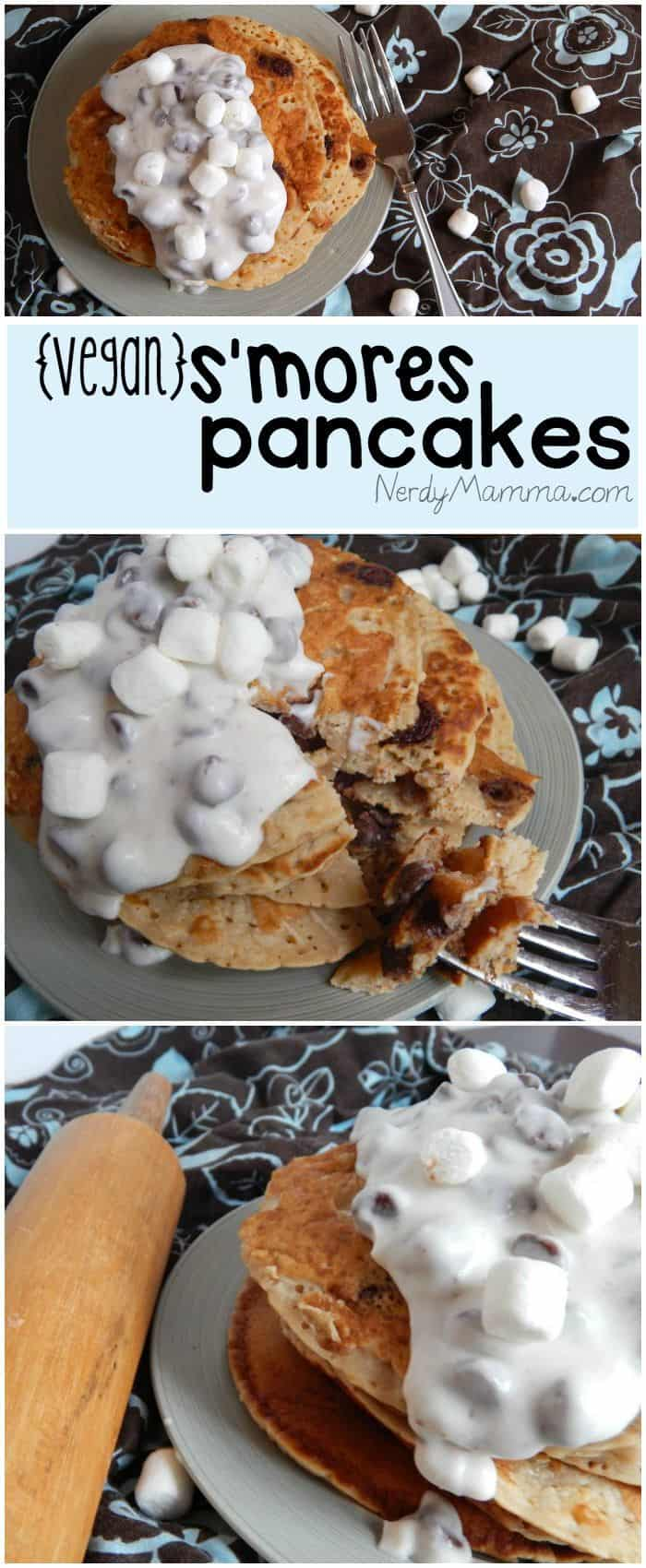 These vegan s'mores pancakes are so easy and yummy, too.