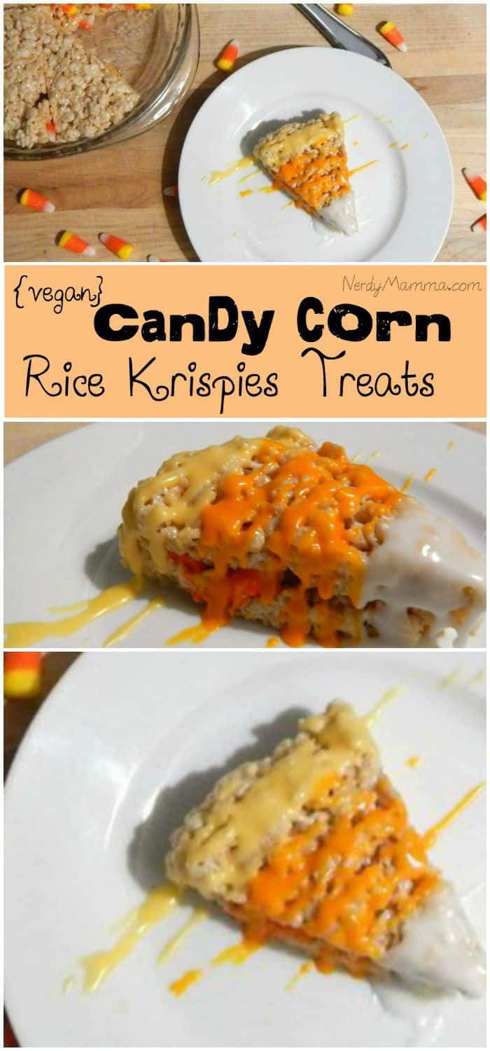 I love this vegan rice krispies treat recipe for Halloween with Candy Corn!