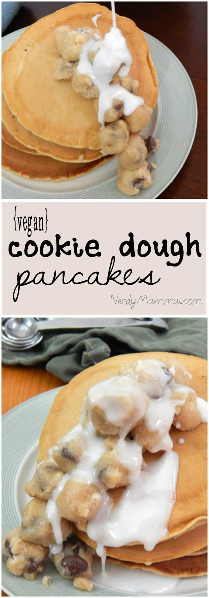 These easy vegan pancakes are totally fun and topped with cookie dough...so delicious.