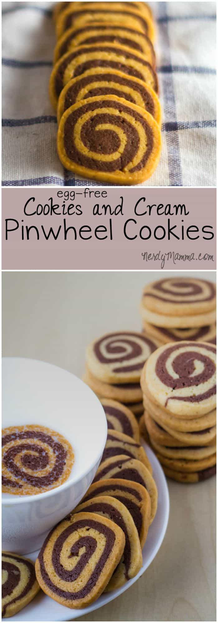 These egg-less pinwheel cookies in chocolate and vanilla are an easy way to make fantastic looking cookies in a flash.