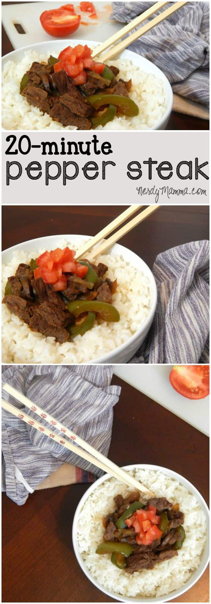 When I need a fast, easy dinner, I make this fast pepper steak. It tastes just like buffet pepper steak and my kids love it.