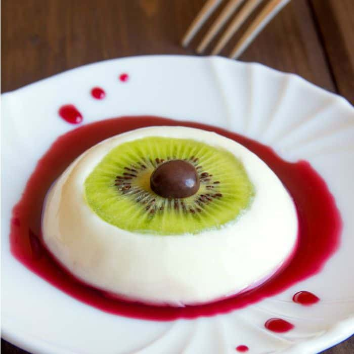 It may look hard, but it's easy and my kids will flip when they see it (or when it sees them). It's a Bloody Eyeball Dessert. But really, its Vegan Panna Cotta. Get it? Heh.