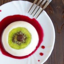 Bloody Eyeball Dessert – Vegan Panna Cotta {fancy word for pudding-ey stuff}