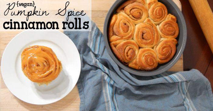 easy vegan pumpkin spice cinnamon rolls fb