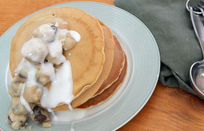 eggless pancake recipe with cookie dough feature