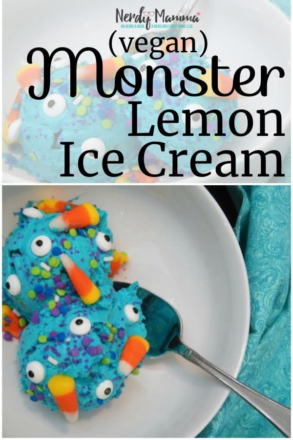 Look. Summer draaaaags...so I have to make something that the kids are going to love. Sometimes, that means whipping out all the sprinkles in the house and really knocking out a delicious bowl of ridiculousness. Monster Lemon Ice Cream (vegan and dairy-free) to the rescue. #nerdymammablog #lemonicecream #veganicecream #nochurnicecream #icecream #monster #lemon