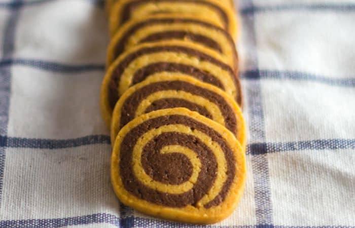 vegan chocolate vanilla pinwheel swirl cookies feature
