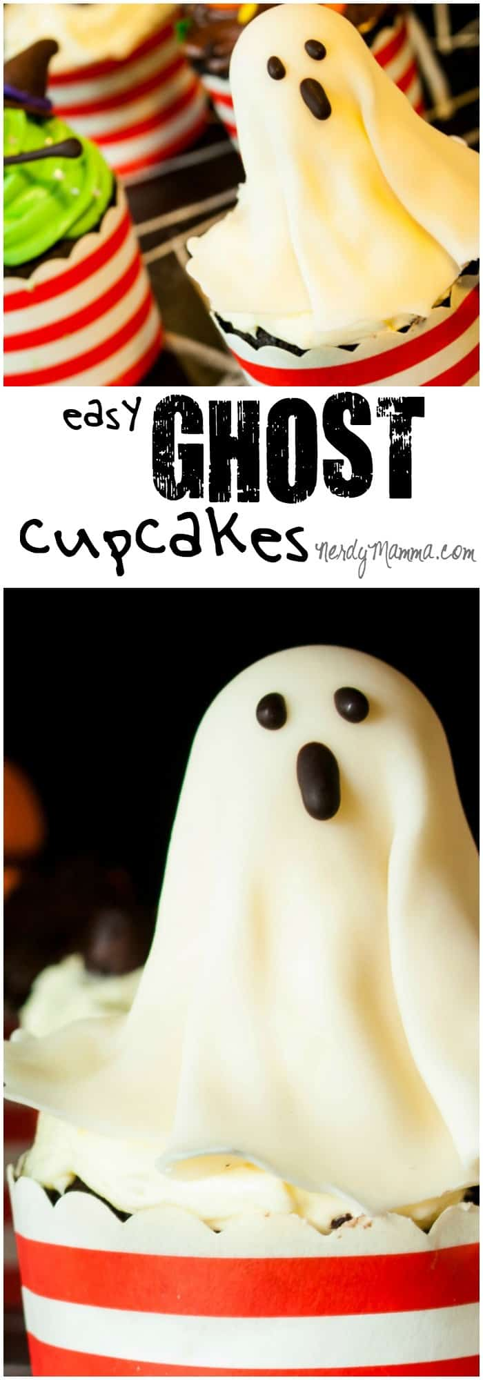 I love how fast these easy ghost cupcakes came together. I mean, it was like I didn't even really have to work to put them on the tray!