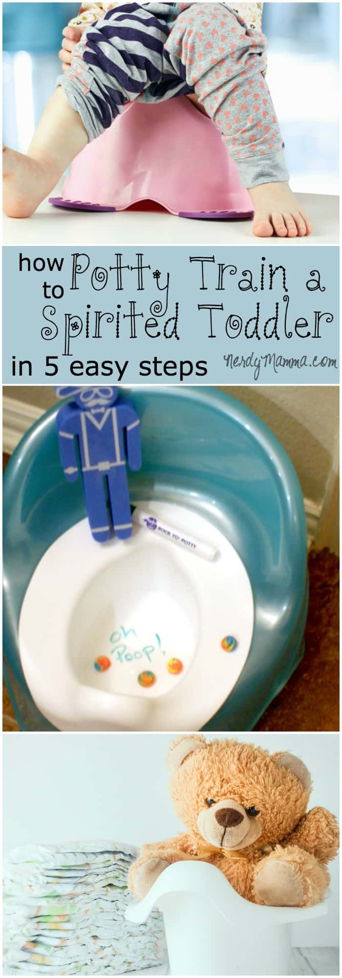 I'm potty training my spirited toddler using these five easy steps...it's made it a little less stressful to know I'm doing this the fun way--not the hard way.