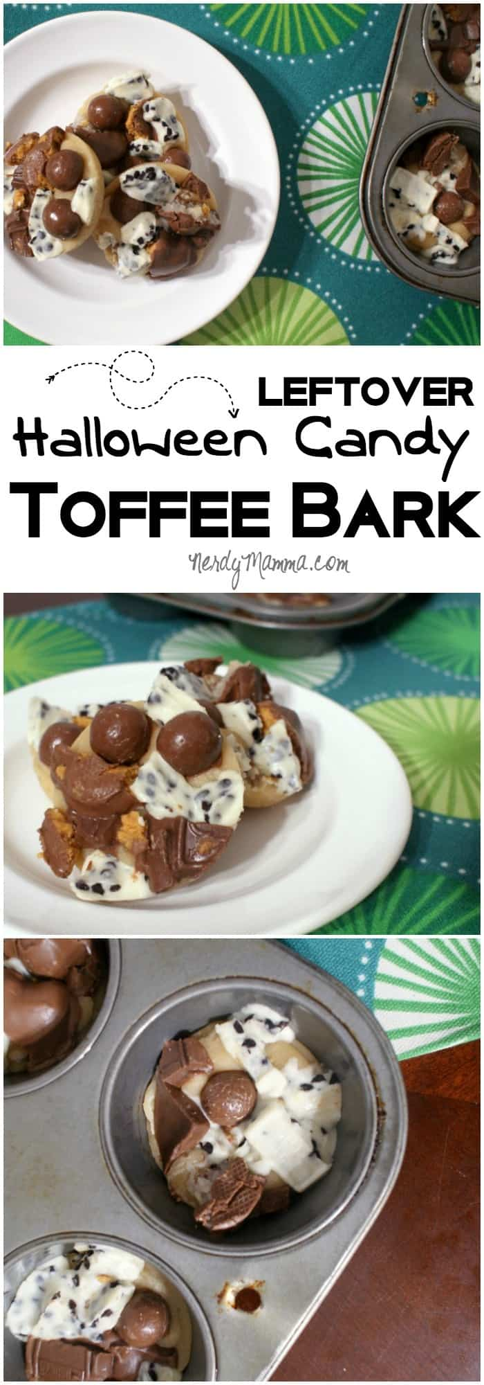 My kids were actually excited to give up their Halloween candy so I could make this awesome toffee bark. LOVE!