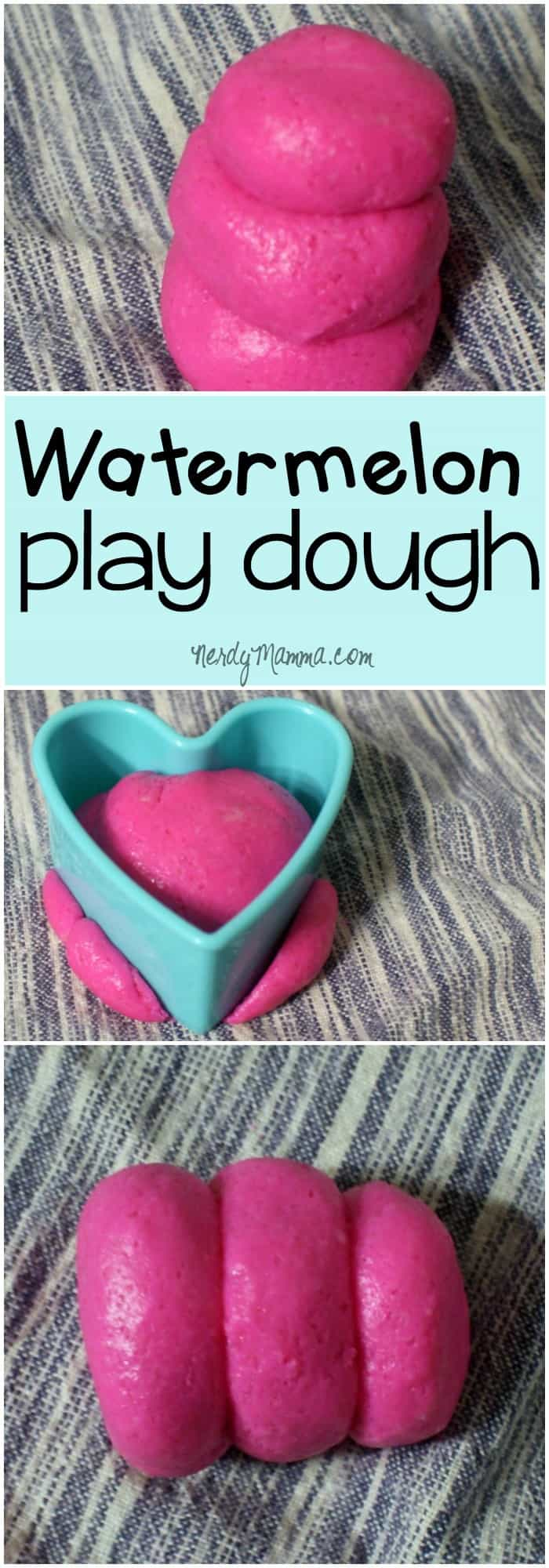 My toddler thought this awesome watermelon taste-safe play dough was just the funnest thing. She loves pink and this recipe is PINK, PINK, PINK! LOL!