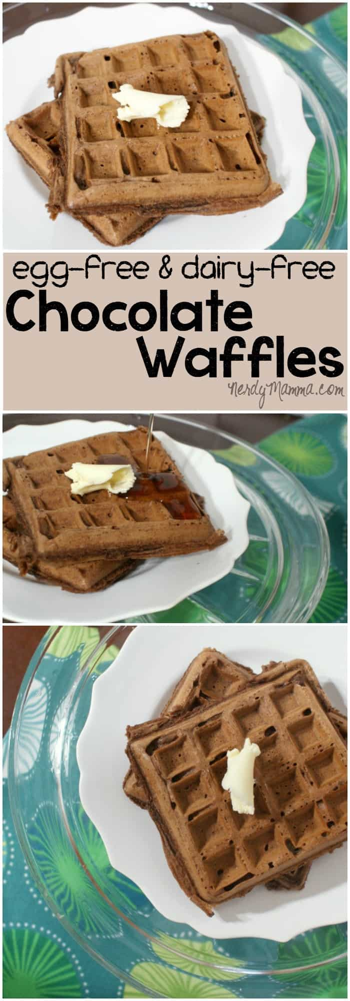 My whole family was so excited to have these vegan chocolate waffles. I mean, dairy-free and egg-free What deliciousness is this! LOL!