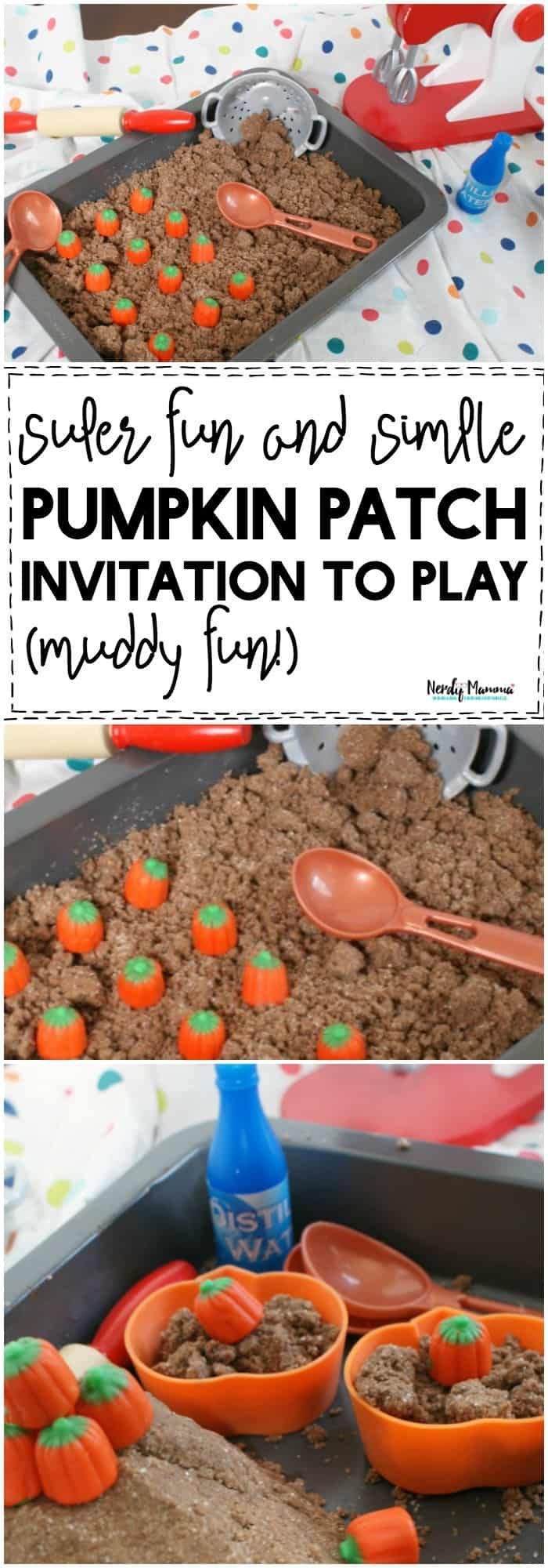OMG! You've got to check out this super fun and simple muddy pumpkin patch invitation to play! Your kids will have SO MUCH FUN!!