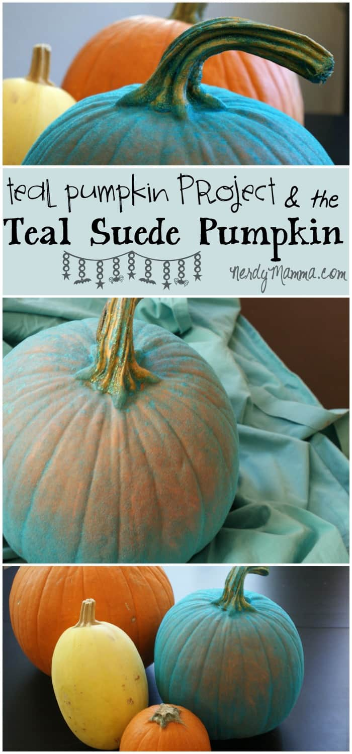 This flocked teal pumpkin (teal suede pumpkin) was so easy to make and has such great meaning...Totally cool idea for the Teal Pumpkin Project and allergy-friendly snacks for kids on Halloween...