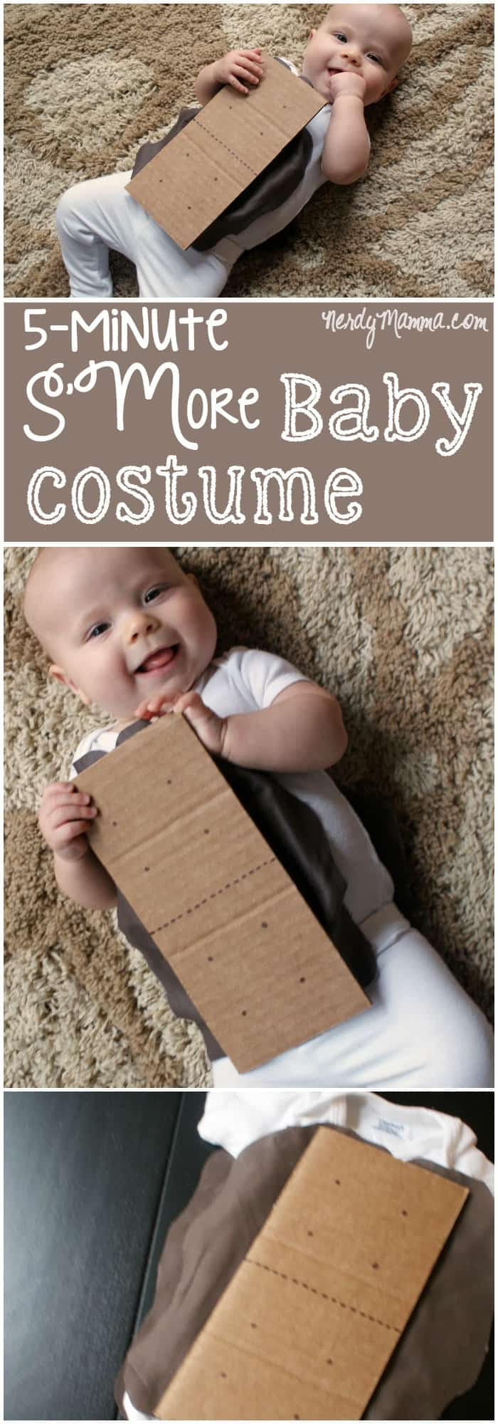 This funny DIY S'More Baby Costume is so cute. AND SO EASY! I love this. Cracks me up! And it only took like 5 minutes to make...