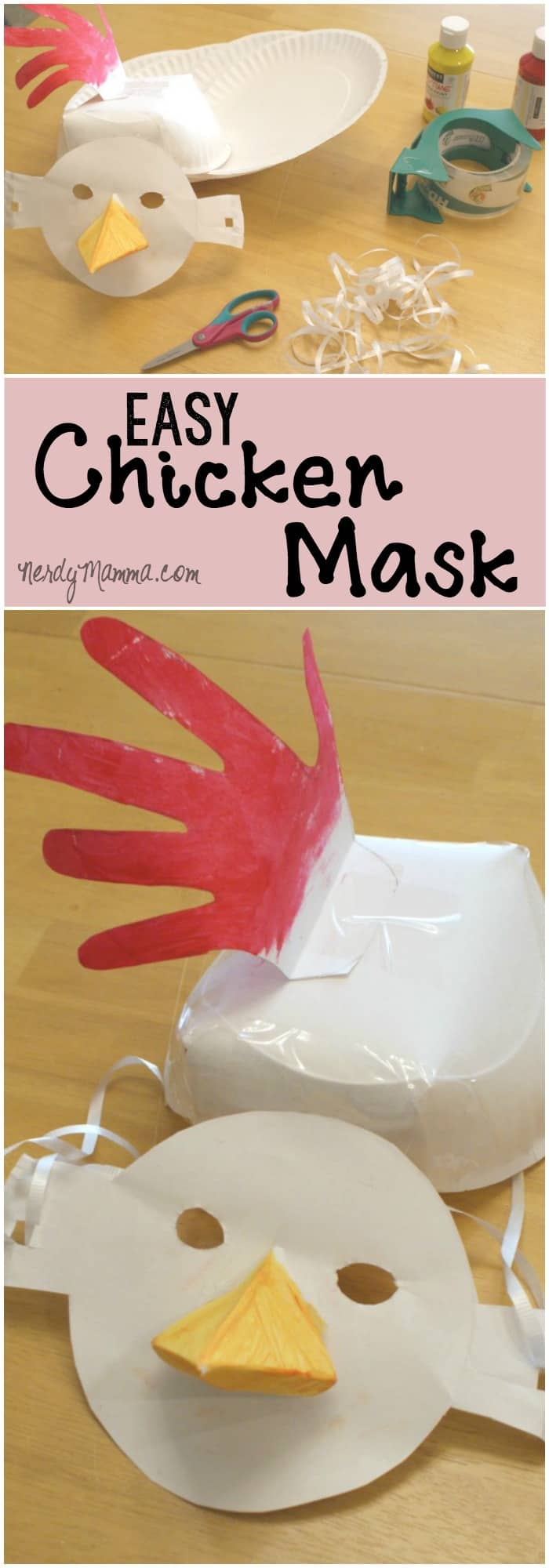 This is such a fun craft project to do with little kids. They'll just think this funny, easy chicken mask is so silly!