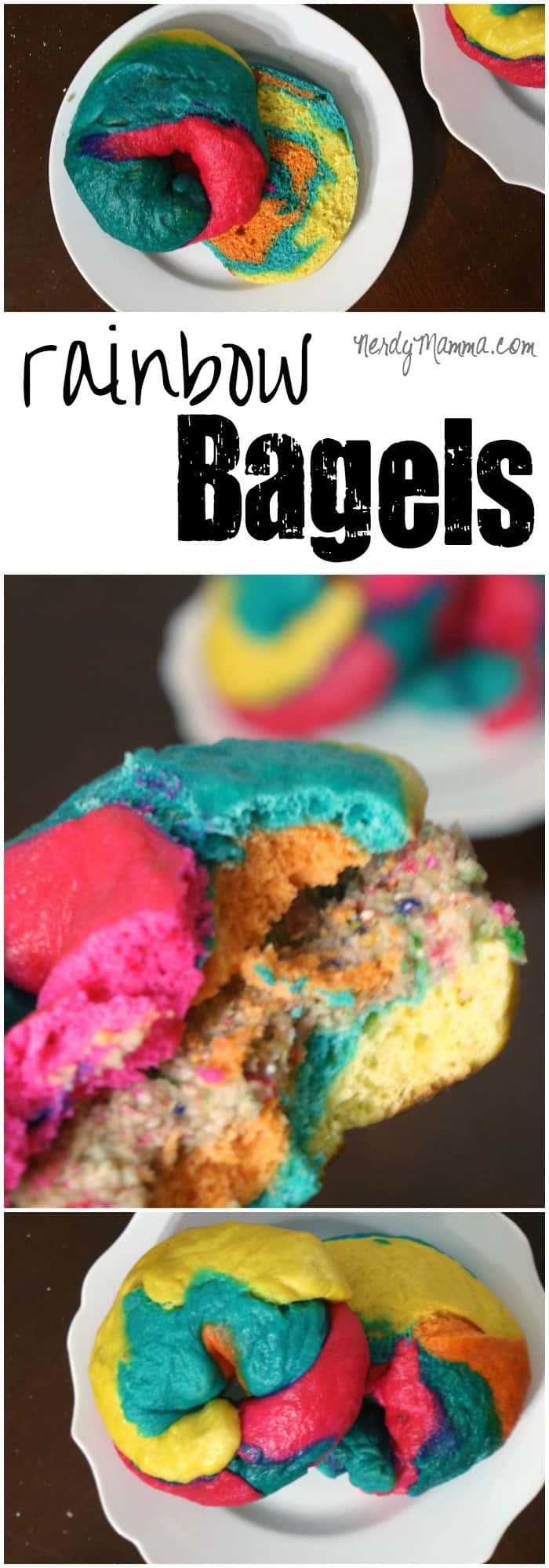 Welcome to the breakfast of unicorns. Rainbow bagels. Mmmmm...