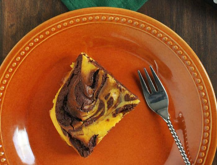 vegan chocolate cake with pumpkin swirl r