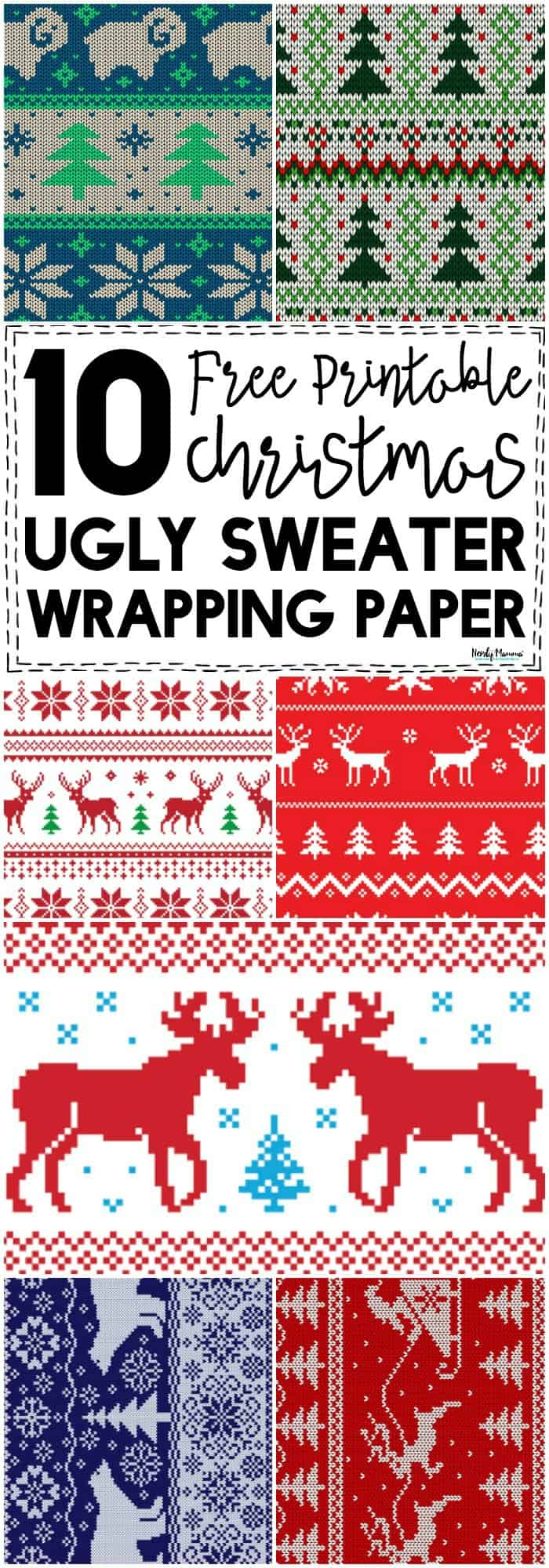 I think, for every present under our tree this year, I'm going to have ugly sweater wrapping on it! This is funny, fun, and kinda nerdy. I love it. #Christmas #holiday #holidayparty #WhiteElephant #Christmastime #DIYgift #freeprintables