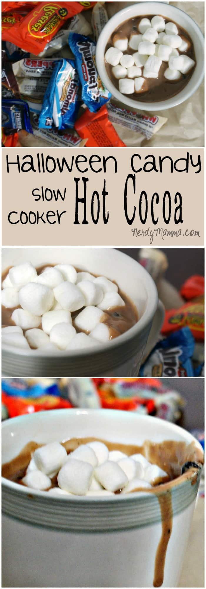 I loved making this crock pot hot chocolate with the kids. And it didn't hurt that it used up several pieces of leftover halloween candy.