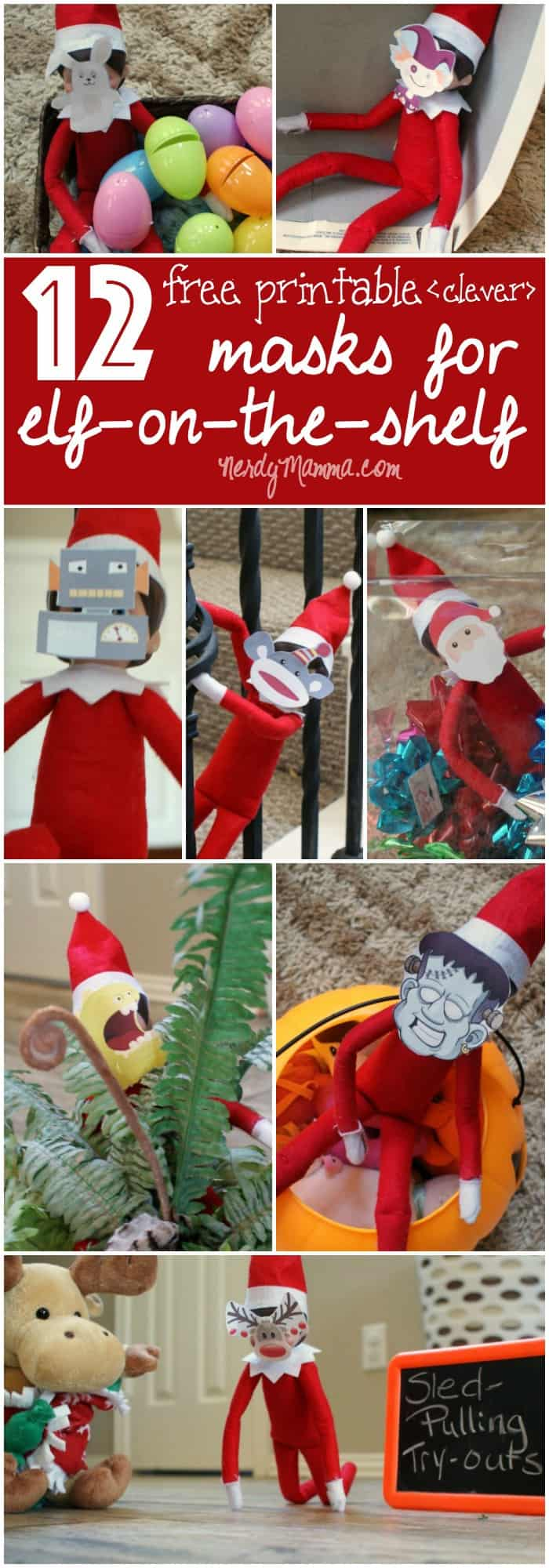 These 12 free printable masks for the elf on the shelf are so cute! This will make doing the elf on the shelf so much easier this year!