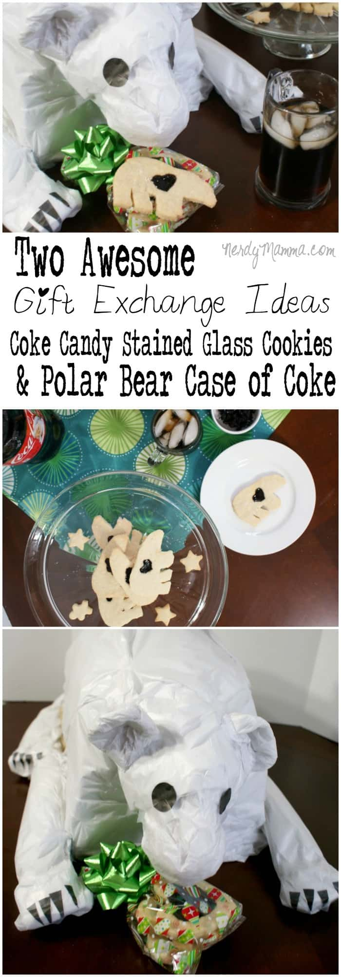 These two gift exchange ideas are truly awesome. I mean Coke Candy Stained Glass Cookies and a Polar Bear shaped 24-pack of coke Awesome is so the best word for this ever.