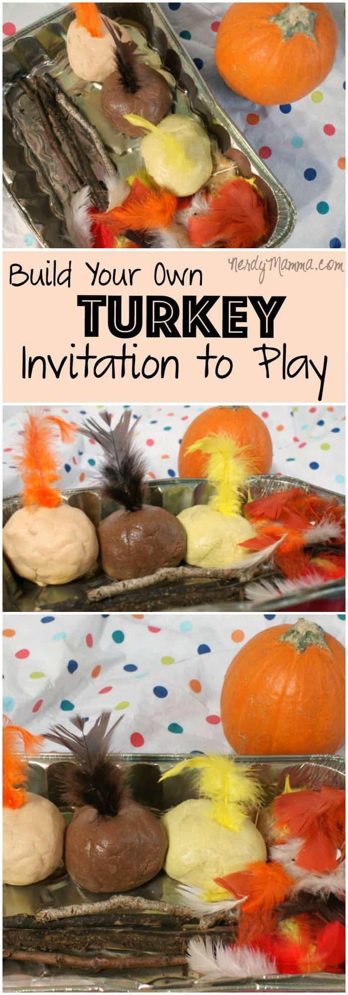 This Thanksgiving Turkey Themed Invitation to Play is such a cute idea. I think I'll have to do this for the kids to occupy them while the turkey is cooking! LOL!