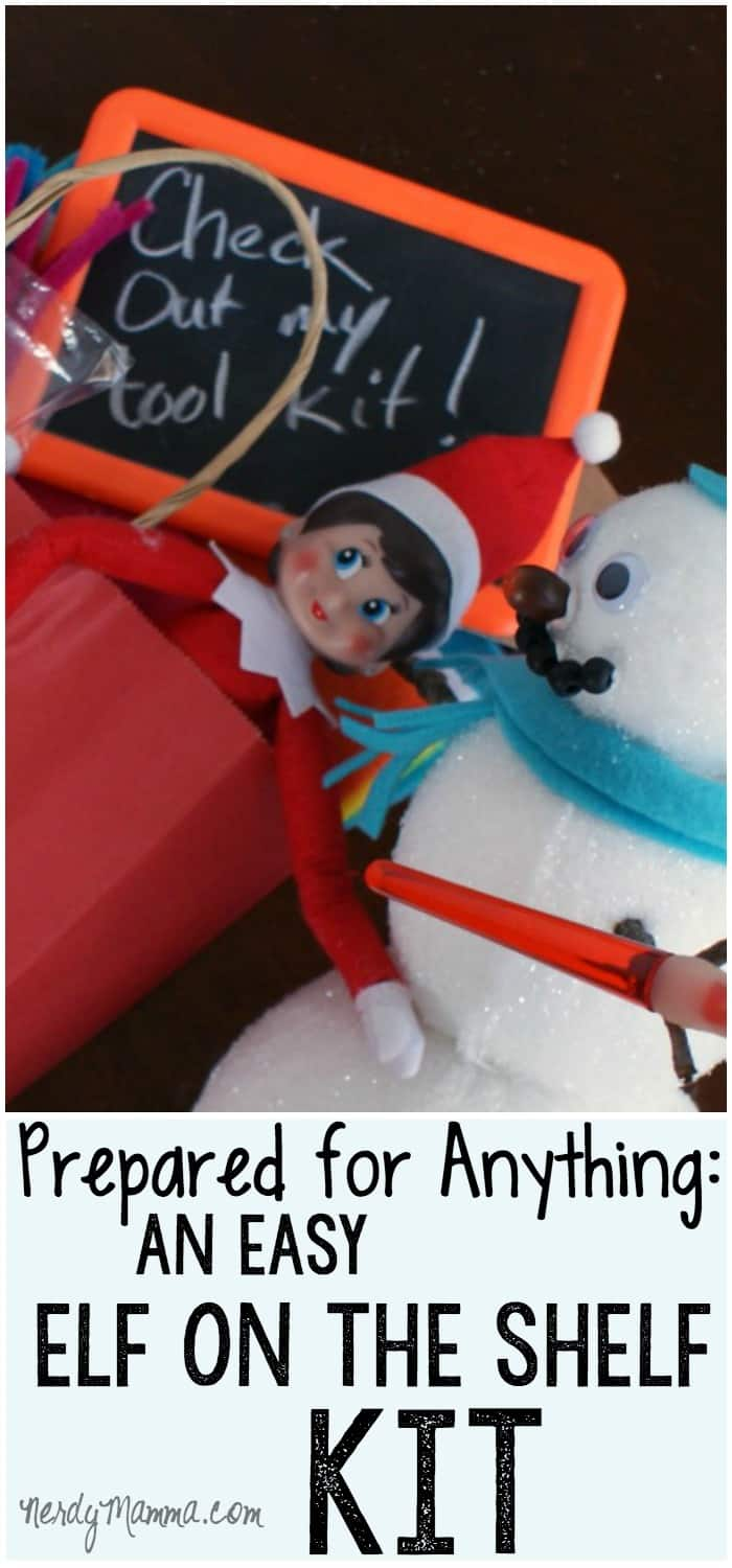 This elf on the shelf kit will have me prepared to do all sorts of fun antics with my elf! Such a cute idea!