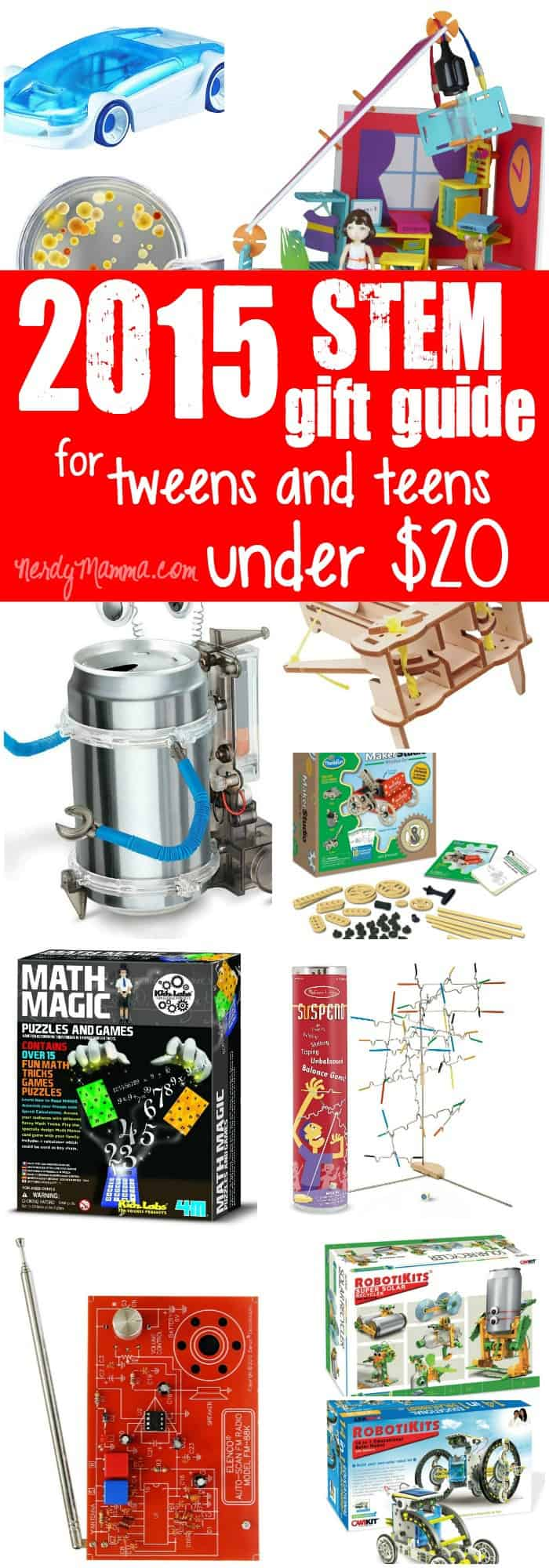 This is an awesome gift guide for tweens and teens that totally focuses on STEM (STEAM) gift ideas that are so affordable--everything is under $20!