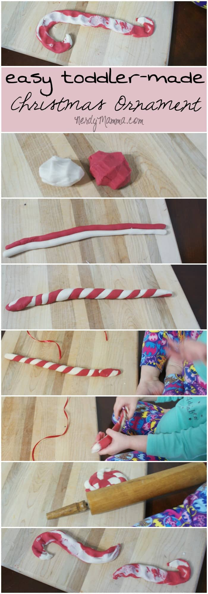 This is the first year I'm making Christmas Ornaments with my daughter and I needed an easy idea--so we made these cute thumbprint candy canes. She had so much fun--and it'll make a great memory!