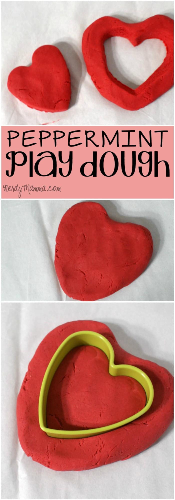 This peppermint play dough recipe is so red, smells so good. It's perfect for holiday clay play or even valentines!