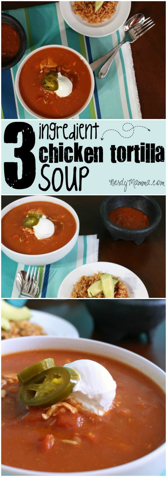 This recipe for chicken tortilla soup is so easy. It's only got 3 ingredients and it's together (and yummy) in about 5 minutes. Best. Dinner. Ever.