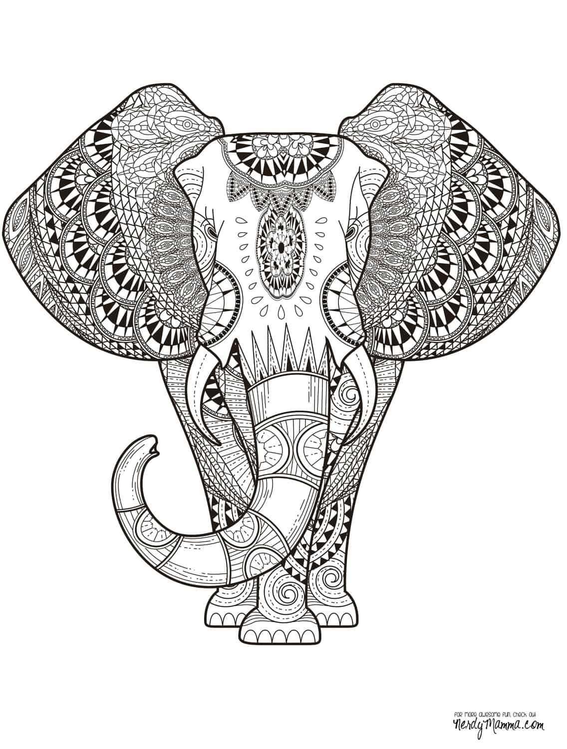 Elephant coloring pages free - Get The Free Downloadable Jpg Here