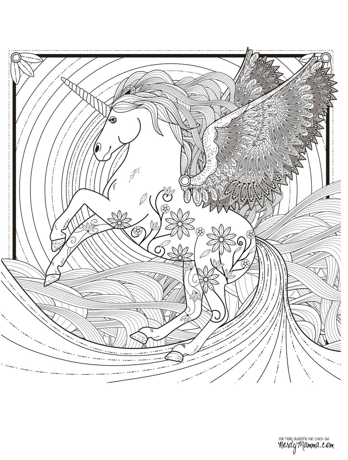 Hard unicorn coloring pages - Get The Free Downloadable Jpg Here