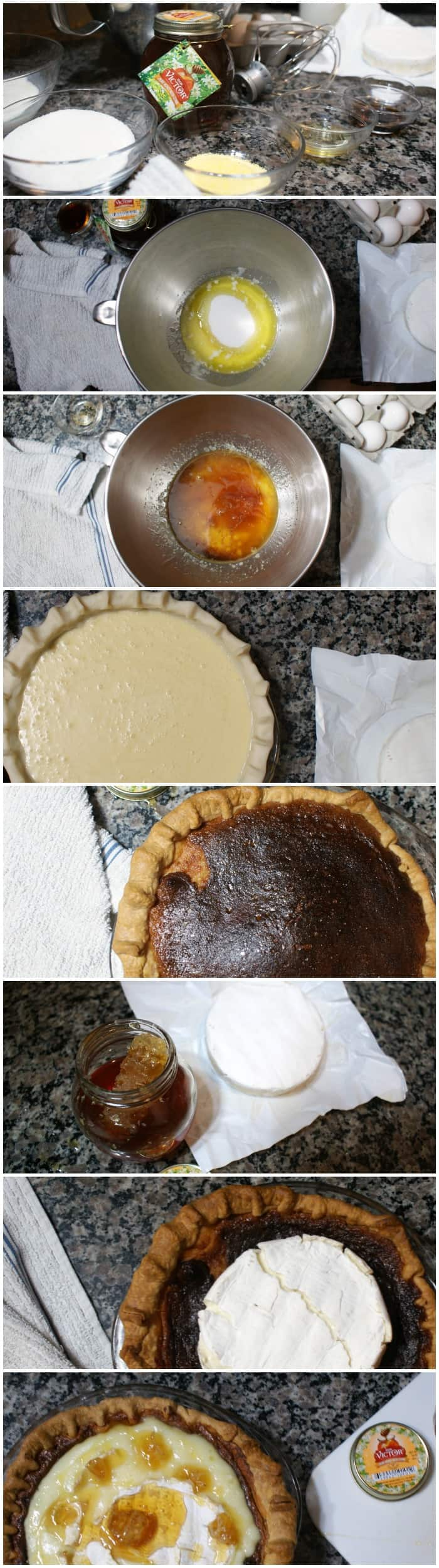 instructions for how to make a honey pie with brie