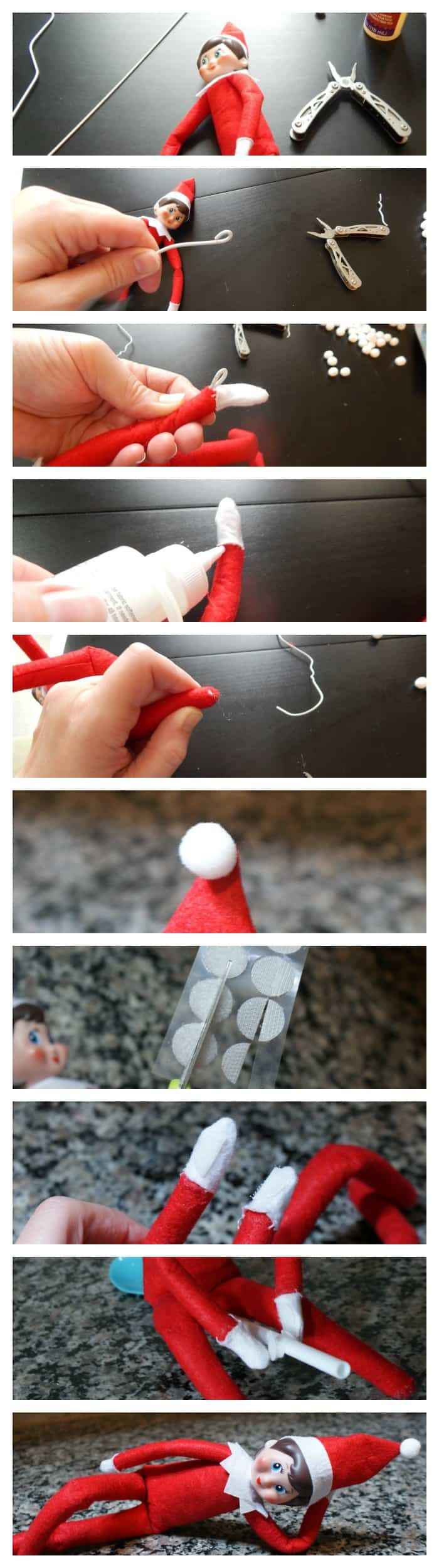 photo tutorial for hacking the elf on the shelf to make it posable