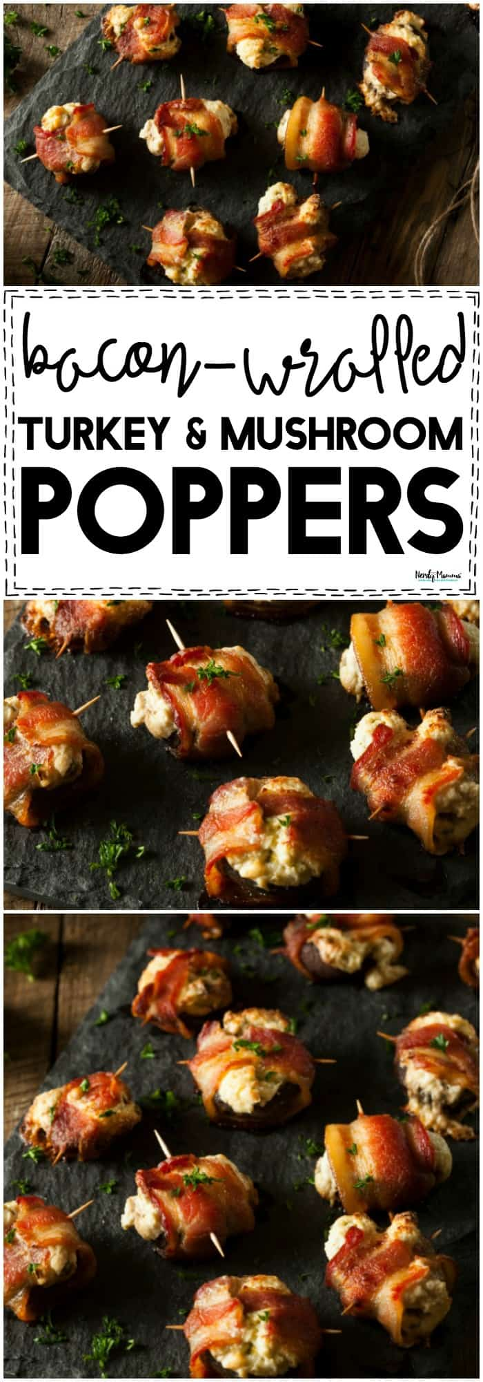 These bacon-wrapped turkey and mushroom poppers are seriously THE most delicious way to use leftover turkey! If you're looking at your leftovers from Thanksgiving and wondering what to do, make these!! #Thanksgiving #recipe #leftovers #turkey #bacon #poppers #appetizer #easyrecipes