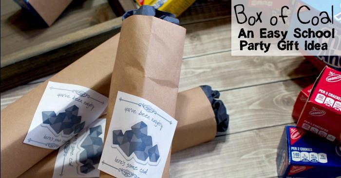 Box of Coal an easy school party gift idea fb