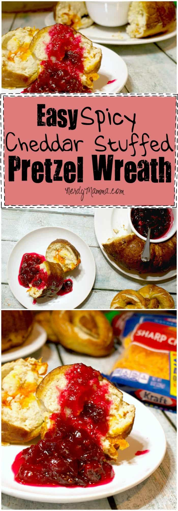I love this easy spicy cheddar stuffed pretzel wreath. It's like a magical soft-pretzel with the cheese sauce INSIDE. So awesome.