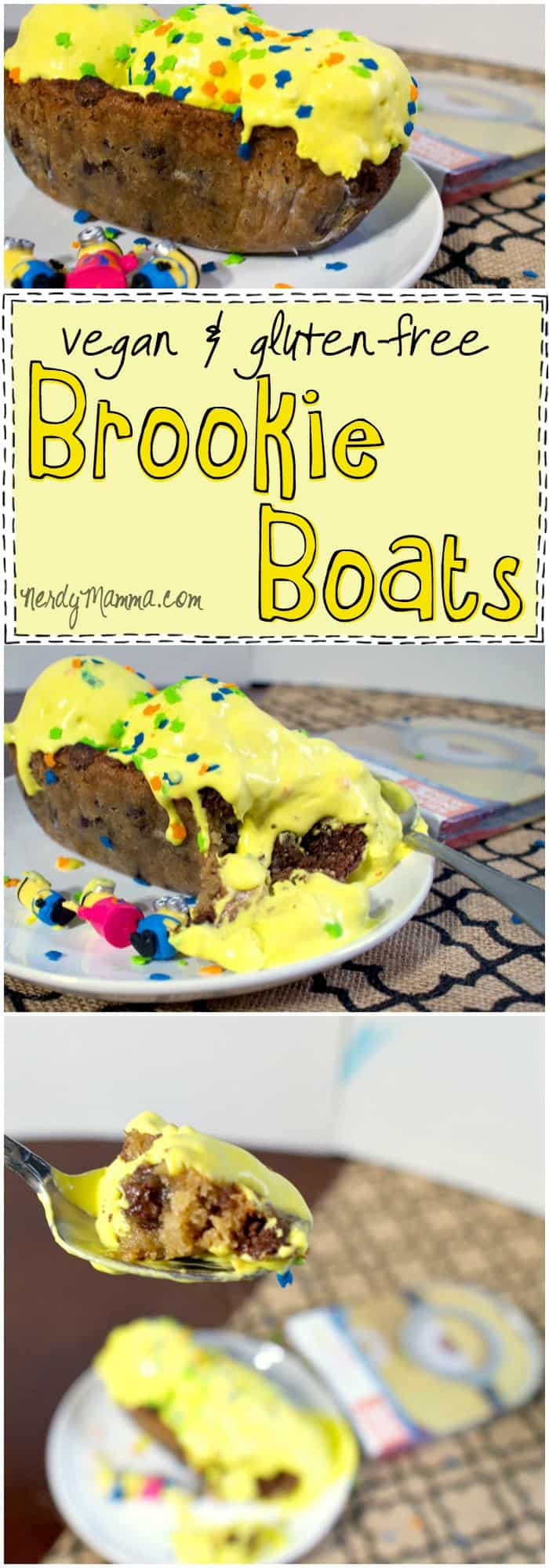 I made these awesome vegan and gluten-free brookie boats for the Minion's movie DVD release...so good...so awesomely yummy...