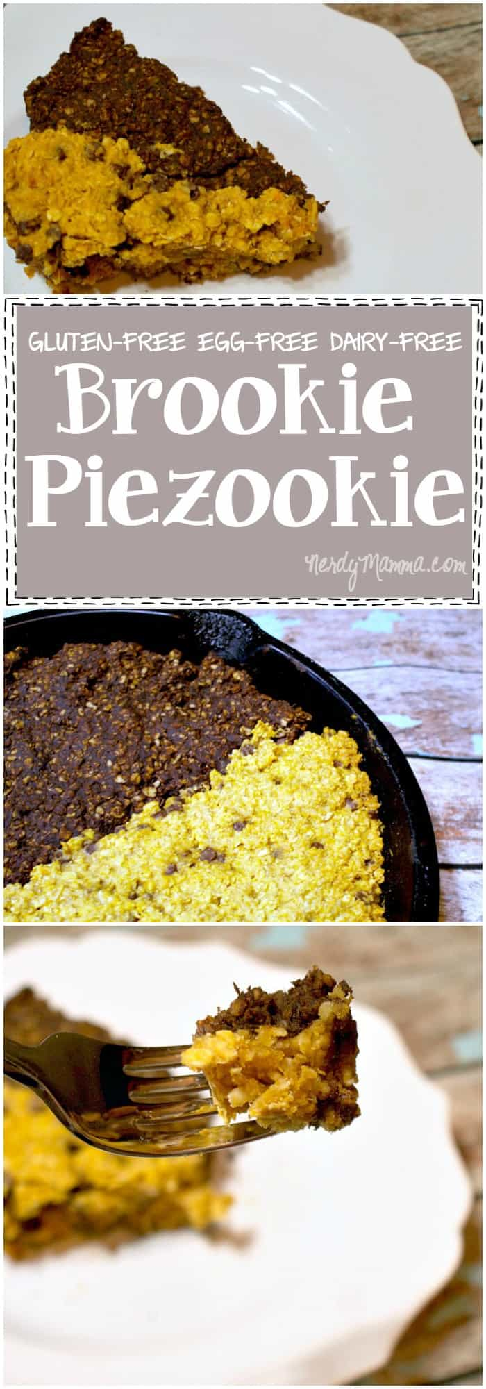 I'd like to bury my face in this awesome brookie piezookie. It's gluten-free, dairy-free AND egg-free. Brownies and Cookies got married and had this awesome baby...and I want to eat it!