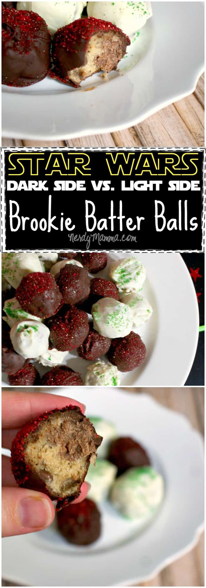 Love these brookie batter balls! So delicious. And the perfect snack for a Star Wars party! Come to the dark side...we have cookies...heh.