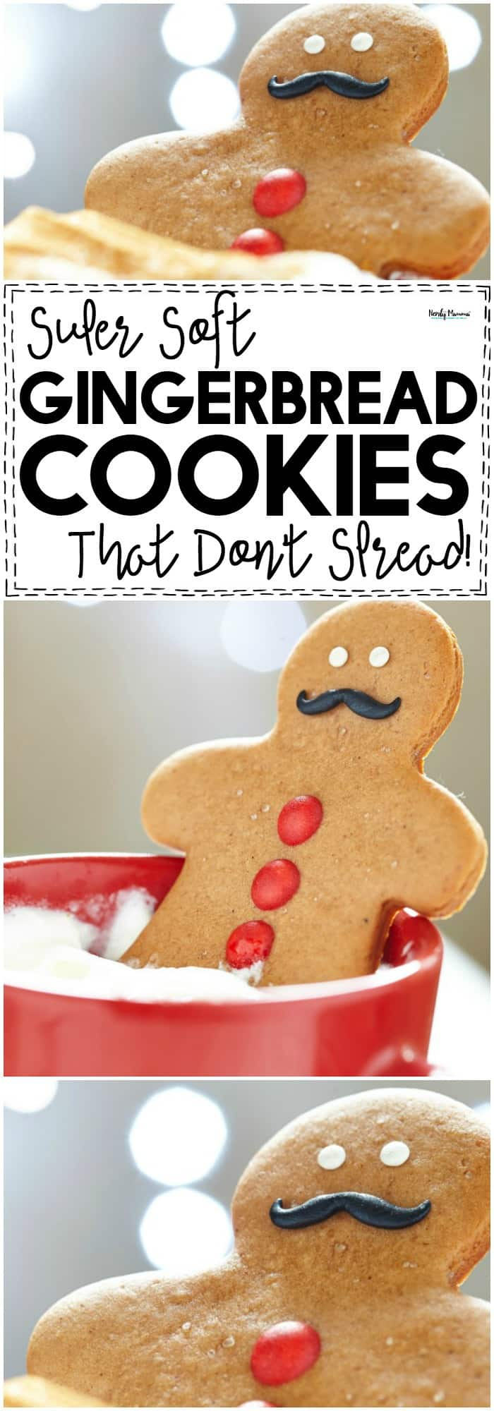 These SUPER soft Gingerbread Cookies that don't spread are AMAZING. Best. Recipe. EVER!