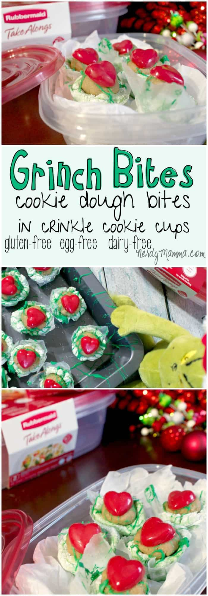 These yummy Grinch Bites are so easy to make--and so yummy! Gluten-free, Egg-free, Dairy-free...they hit all the high points! LOVE!