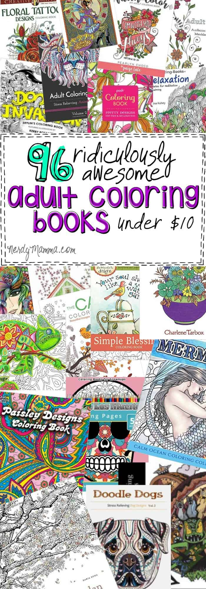 This list of 96 ridiculously awesome adult coloring books under $10 is just everything. I mean, seriously. There's a coloring book for EVERYONE on this list--and they're all cheap! LOVE!