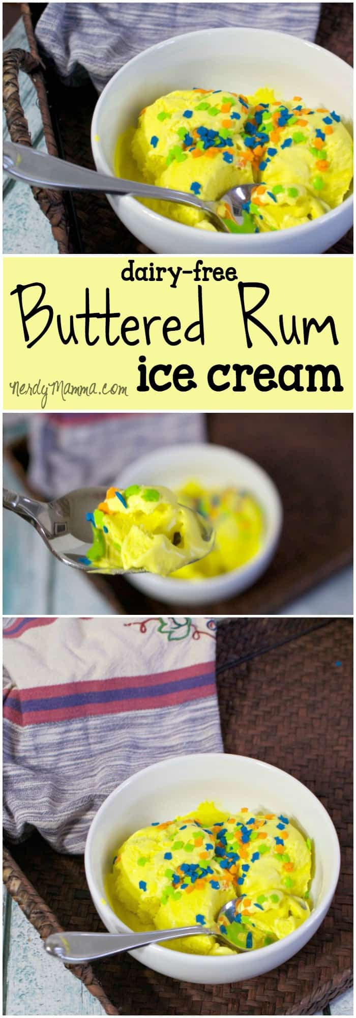 This recipe for buttered rum ice cream is the absolute best. I mean buttered rum. Yummy!